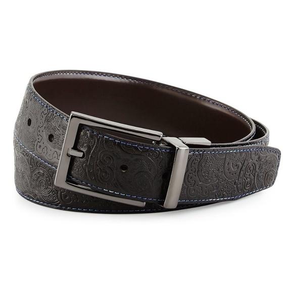 Black Robert Graham Mens Garrison Reversible Leather Belt